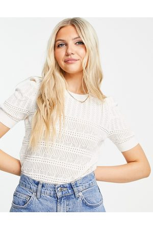 Morgan Short-sleeved knitted top in white