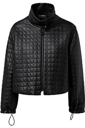 AKRIS Women Winter Jackets - Trapezoid Quilted Leather Cropped Jacket
