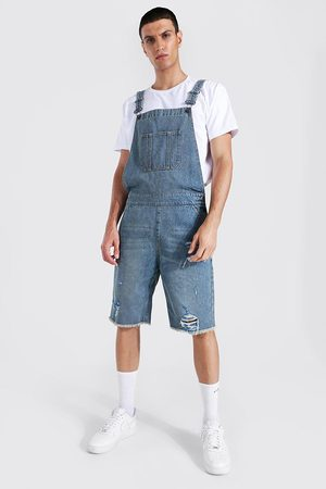 Boohoo Mens Antique Relaxed Fit Short Dungaree With Frayed Hem
