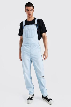 Boohooman Men Bootcut & Flares - Mens Ice Relaxed Fit Knee Slash Long Dungaree