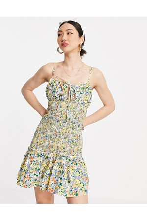 ASOS Women Summer Dresses - Ruched bust cami mini sundress with shirred waist in cotton poplin in floral print-Multi