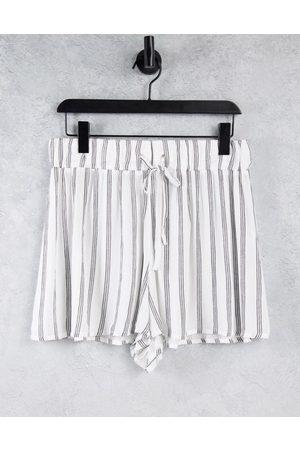 ASOS Crinkle short with tie waist in mono stripe print-Multi