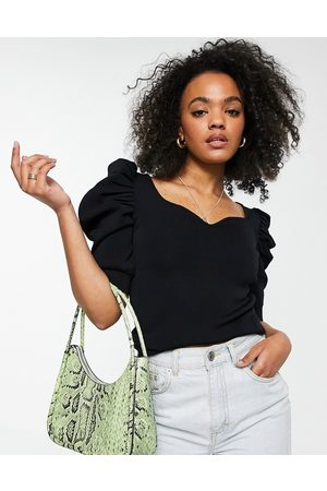 Morgan Women Tops - Knitted sweetheart neck puff-sleeved top in black