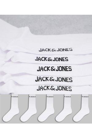 JACK & JONES Men Sports Underwear - 5-pack logo sports socks in white