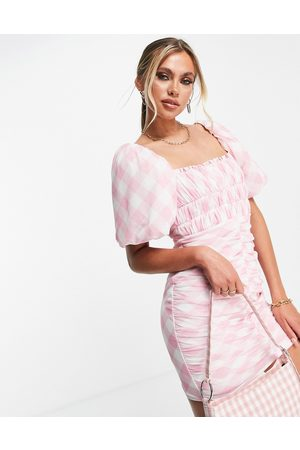 ASOS Puff-sleeved ruched mesh bodycon mini dress in pink gingham print-Multi