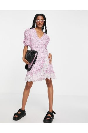 River Island Floral printed mini wrap dress in pink