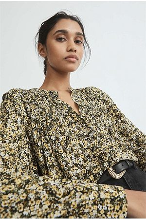 WITCHERY Floral Pintuck Blouse