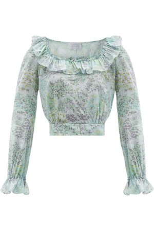 LUISA BECCARIA Gathered Floral-print Cotton-voile Crop Top - Womens - Print