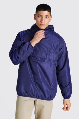 Boohoo Men Trench Coats - Mens Navy Hooded Lightweight Overhead