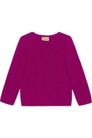 Gucci Girls Sweatshirts - Children's GG stitch wool jumper