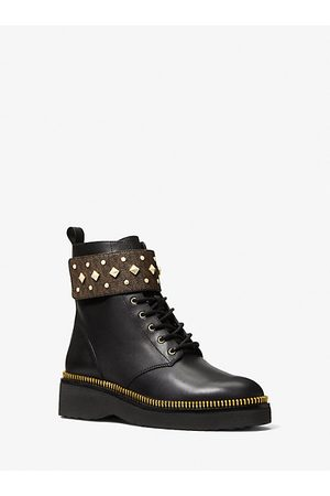 Michael Kors MK Haskell Studded Logo and Leather Combat Boot - /blk - Michael Kors