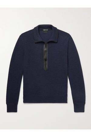 Tom Ford Leather-Trimmed Ribbed Merino Wool Half-Zip Sweater
