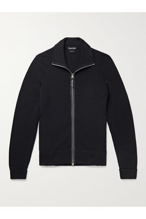 TOM FORD Men Cardigans - Slim-Fit Leather-Trimmed Wool Zip-Up Cardigan