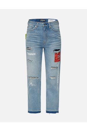 Evisu Woven Label Ripped Relaxed Fit Jeans