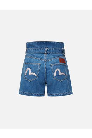 Evisu Pattern Seagull Embroidered Paper Bag Denim Shorts