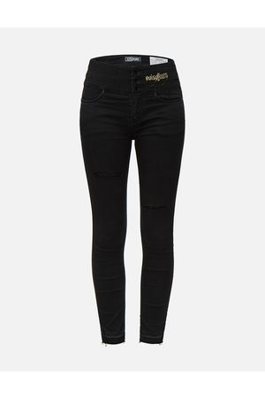 Evisu Chain and Logo Embroidered Skinny Jeans