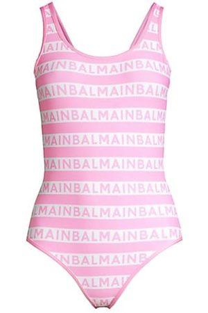 Balmain Olimpionic Stripe Logo One-Piece Swimsuit