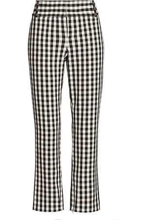 ALICE+OLIVIA Stacey Gingham Slim Ankle Pants