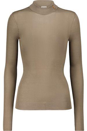 Saint Laurent Ribbed-knit silk mockneck sweater