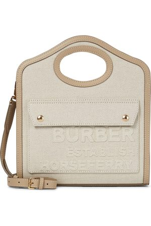 Burberry Pocket Mini leather-trimmed canvas tote