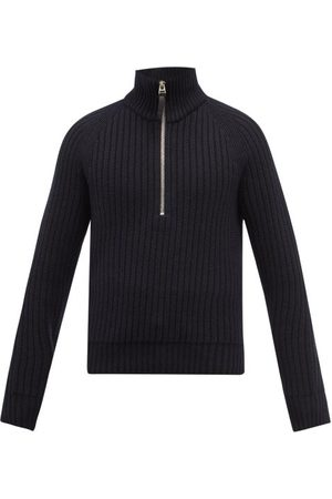 Tom Ford Men Sweaters - Half-zip Ribbed Cashmere-blend Sweater - Mens - Navy