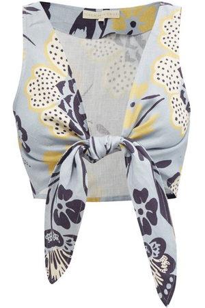 Cala De La Cruz Women Crop Tops - Lola Tie-front Floral-print Linen Cropped Top - Womens - Print