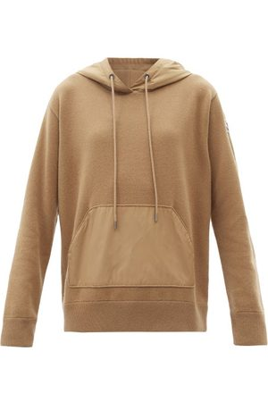 Moncler - Logo-patch Panelled Wool-blend Hooded Sweater - Womens - Camel
