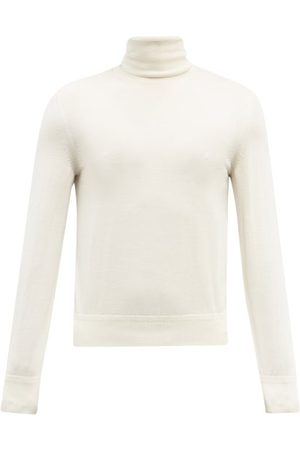 Tom Ford Roll-neck Cashmere And Silk Blend Sweater - Mens - Cream