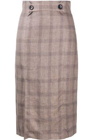12 STOREEZ Check print linen pencil skirt