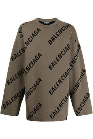 Balenciaga Men Sweaters - Logo-intarsia oversized jumper