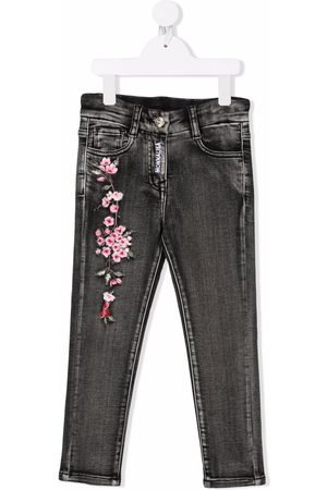 Monnalisa Floral-embroidered stonewashed jeans