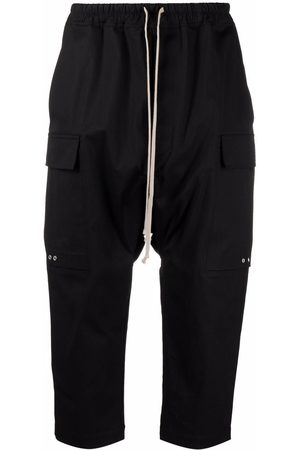 Rick Owens Dropped-crotch cargo pocket cropped trousers
