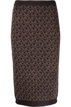 Michael Kors Monogram-print knitted skirt
