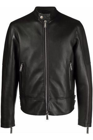 Dsquared2 Grained leather zip-up jacket