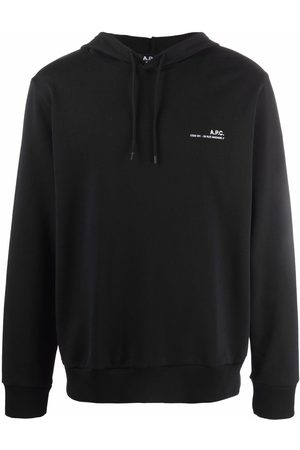 A.P.C. Logo-print cotton drawstring hoodie