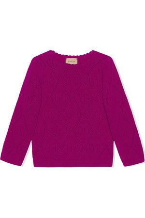 Gucci Kids Girls Sweaters - GG-stitch wool jumper
