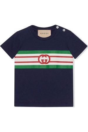 Gucci Kids Monogram-print stripe-detail polo shirt