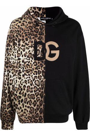 Dolce & Gabbana Men Hoodies - Leopard-print spliced DG logo hoodie