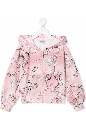 MONNALISA Floral-print zip front velour hoodie