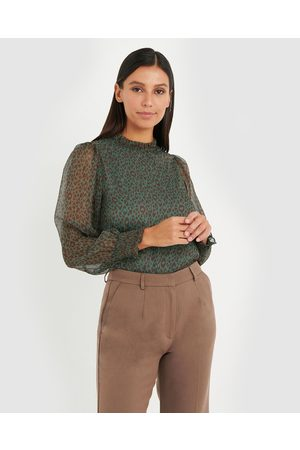 Forcast Susie Animal Printed Blouse - Tops (Sage) Susie Animal Printed Blouse