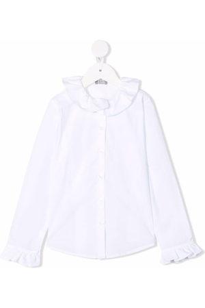 Il gufo Girls Shirts - Ruffled cotton shirt