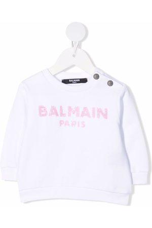 Balmain Sequinned-logo sweatshirt