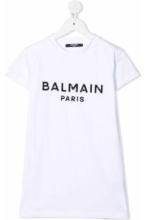 Balmain Sequin-logo embellished T-shirt dress