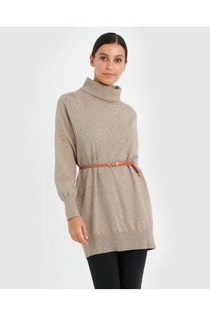 Forcast Women Sweaters - Kristy Tunic Knit Top - Jumpers & Cardigans (Almond) Kristy Tunic Knit Top