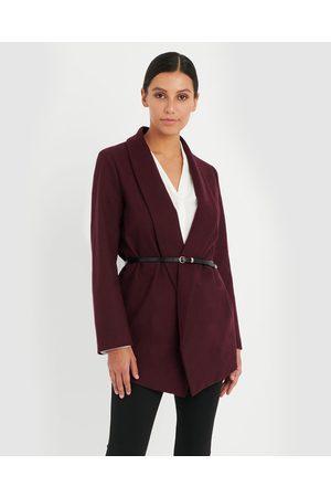 Forcast Women Coats - Indie Shawl Collar Coat - Blazers (Burgundy) Indie Shawl Collar Coat