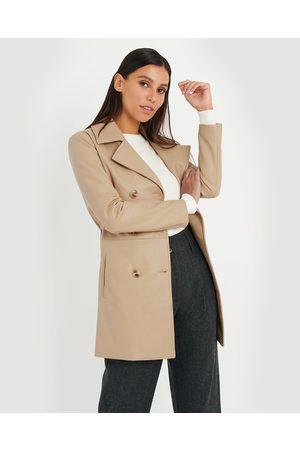 Forcast Megan Faux Leather Coat - Coats & Jackets (Camel) Megan Faux Leather Coat
