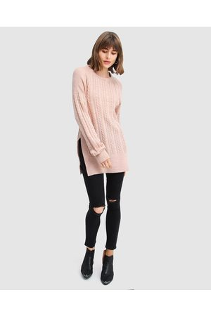 Belle & Bloom At Last Cable Knit Jumper with Slit - Jumpers & Cardigans (Blush) At Last Cable Knit Jumper with Slit