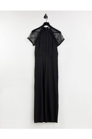 Liquorish Lace wide leg jumpsuit in black