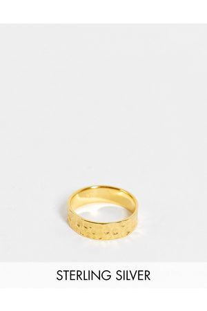ASOS Sterling silver band ring with hammered texture in 14k gold plate
