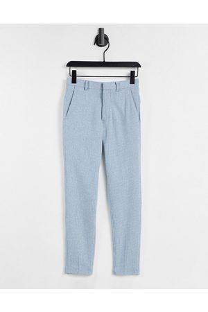 ASOS Skinny Pants - Super skinny wool mix smart pants in blue puppytooth